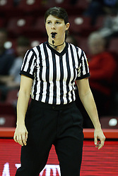 07 December 2012:  Referee Amy Boner during an NCAA women's basketball game between the Northwestern Wildcats and the Illinois Sate Redbirds at Redbird Arena in Normal IL