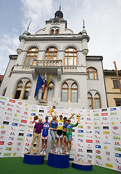 The best three in general classification (from L to R): second placed Tomaz Nose of Slovenia (Adria Mobil) , winner Jakob Fuglsang of Denmark (Team Saxo Bank) and third placed Domenico Pozzovivo of Italy (CSF Group Navigare) at the flower ceremony in Novo mesto after 4th stage of Tour de Slovenie 2009 from Sentjernej to Novo mesto, 153 km, on June 21 2009, Slovenia. (Photo by Vid Ponikvar / Sportida)