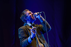 © Licensed to London News Pictures. 02/05/2013. London, UK.   Hamilton Leithauser of The Walkmen performing live at The O2 Arena, supporting headliner The Vaccines.   The Walkmen are an indie rock band composed of Paul Maroon (guitar, piano), Walter Martin (organ/bass), and Matt Barrick (drums), Peter Bauer (bass/organ) and Hamilton Leithauser (vocals, guitar). Photo credit : Richard Isaac/LNP