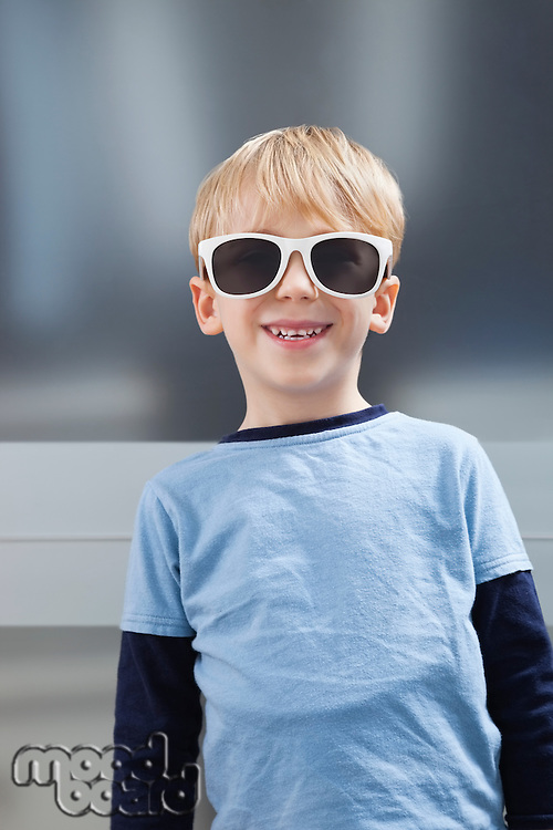 Portrait of Caucasian boy in casuals wearing sunglasses