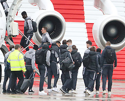 Axel Tuanzebe, Phil Jones, Sergio Romero and Jose Mourinho as the Manchester United team fly to Wales on Tuesday morning for their Carabao Cup match against Swansea City