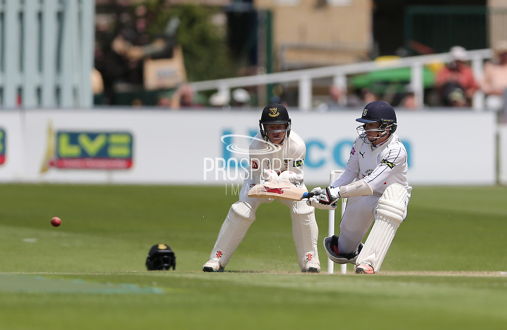 Adam Wheater on his way to 50 during the LV County Championship Div 1 match between Sussex County Cricket Club and Hampshire County Cricket Club at the BrightonandHoveJobs.com County Ground, Hove, United Kingdom on 8 June 2015.
