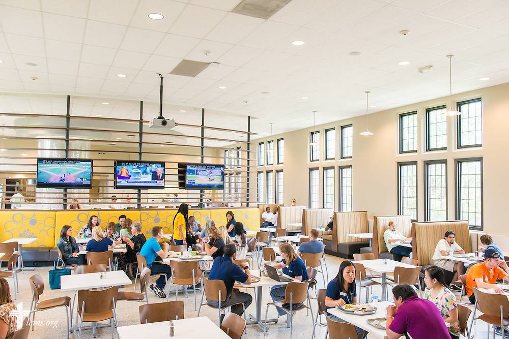 Students eat in the dining hall at Concordia University, Saint Paul, on Wednesday, August 6, 2014, in St. Paul, Minn.   LCMS Communications/Erik M. Lunsford