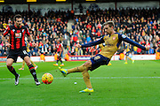 Arsenal defender Nacho Monreal clears the ball during the Barclays Premier League match between Bournemouth and Arsenal at the Goldsands Stadium, Bournemouth, England on 7 February 2016. Photo by Graham Hunt.