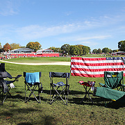 Ryder Cup 2016. Day Three. Seating in place on the seventeenth hole before the start of competition during the Sunday singles competition at  the Ryder Cup tournament at Hazeltine National Golf Club on October 02, 2016 in Chaska, Minnesota.  (Photo by Tim Clayton/Corbis via Getty Images)