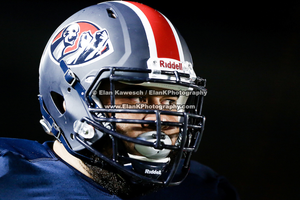 A member of the Boston Brawlers is seen during the first ever Boston Brawlers home game at Harvard Stadium on October 24, 2014 in Boston, Massachusetts. (Photo by Elan Kawesch)