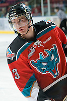 KELOWNA, CANADA, OCTOBER 20:  Tanner Moar #23 of the Kelowna Rockets skates on the ice as  the Vancouver Giants visited the Kelowna Rockets on October 20, 2011 at Prospera Place in Kelowna, British Columbia, Canada (Photo by Marissa Baecker/shootthebreeze.ca) *** Local Caption *** Tanner Moar;