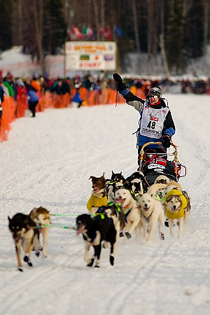 05 March 2006: Willow, Alaska - Tove Sorensen of Tromso, Norway heads out for Nome at the official restart of the 2006 Iditarod on Willow Lake in Willow, Alaska