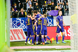 Players of NK Maribor celebrating after goal during football match between NK Maribor and NK Olimpija Ljubljana in 34th Round of Prva liga Telekom Slovenije 2017/18, on May 19, 2018 in Ljudski vrt, Maribor, Slovenia. Photo by Mario Horvat / Sportida