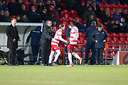 Doncaster sub change Doncaster Rovers Midfielder Rodney Kongolo (7)  for Doncaster Rovers Forward Alfie May (19)  during the EFL Sky Bet League 1 match between Doncaster Rovers and Bristol Rovers at the Keepmoat Stadium, Doncaster, England on 27 January 2018. Photo by Craig Zadoroznyj.