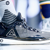02 April 2017: Close view of San Antonio Spurs guard Tony Parker (9) Peak shoes during the San Antonio Spurs 109-103 victory over the Utah Jazz, at the AT&T Center, San Antonio, Texas, USA.