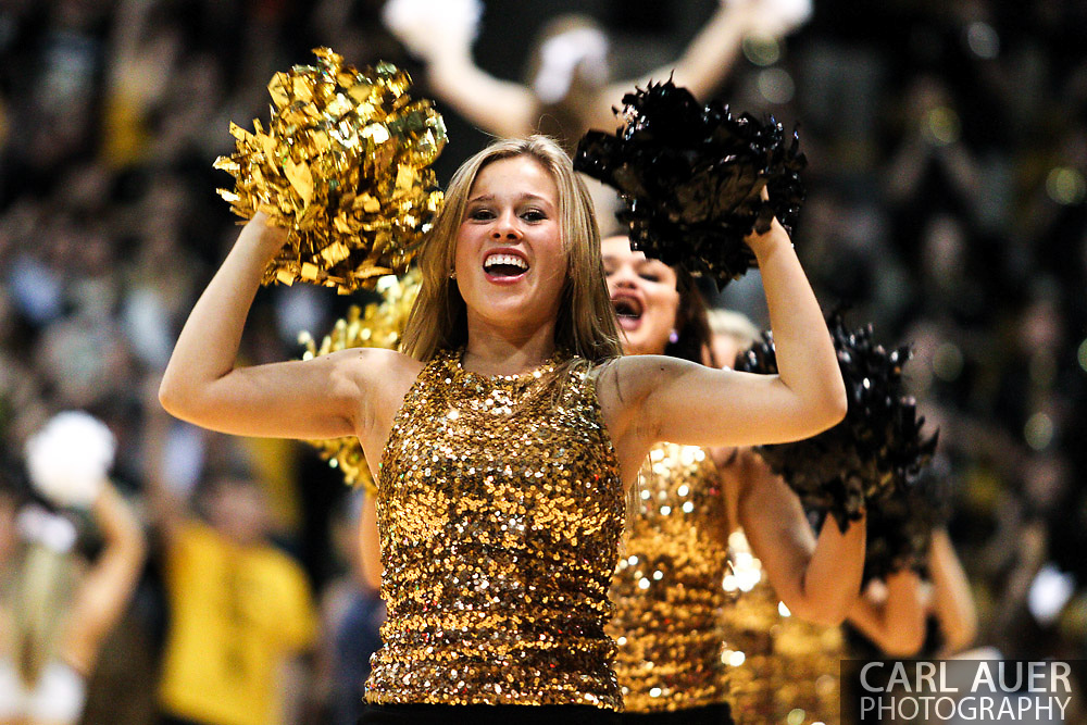 March 3, 2013: Boulder, Colorado - The Colorado cheerleaders take to the floor during a break in the action of the Colorado Buffaloes game against the University of Oregon Ducks at the Coors Events Center