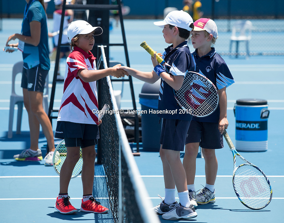 Kinder spielen Tennis<br /> <br /> Tennis - Brisbane International  2015 - ATP -   - Brisbane - QLD - Australia  - 10 January 2015. <br /> &copy; Juergen Hasenkopf