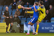 Gillingham FC forward Tom Eaves (9) and Oxford United defender Aaron Martin (6) during the EFL Sky Bet League 1 match between Gillingham and Oxford United at the MEMS Priestfield Stadium, Gillingham, England on 26 December 2017. Photo by Martin Cole.