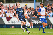 Leeds United midfielder Jordan Stevens (18) reacts during the Pre-Season Friendly match between Guiseley  and Leeds United at Nethermoor Park, Guiseley, United Kingdom on 11 July 2019.