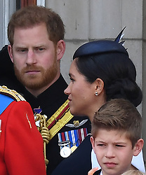 "Prince Harry appears to tell Meghan to ""turn around"" as they appear on the balcony at Trooping the Colour at Buckingham Palace, London, UK, on the 8th June 2019. 08 Jun 2019 Pictured: Prince Harry appears to tell Meghan to ""turn around"" as they appear on the balcony at Trooping the Colour at Buckingham Palace, London, UK, on the 8th June 2019. Photo credit: James Whatling / MEGA TheMegaAgency.com +1 888 505 6342"