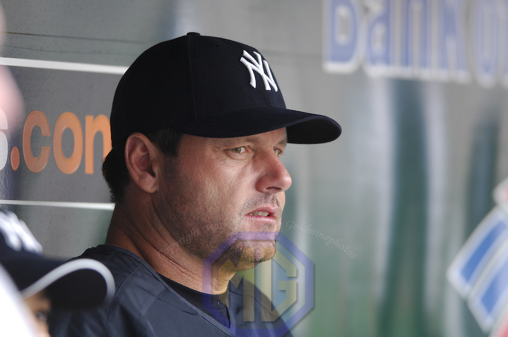 27 July 2007:  New York Yankees pitcher Roger Clemens (22) sits on the bench during the game against the Baltimore Orioles.  The Orioles defeated the Yankees 4-2 at Camden Yards in Baltimore, MD.   ****For Editorial Use Only****