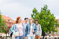 Group of college friends walking outdoors