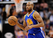 Apr 5, 2013; Phoenix, AZ, USA; Golden State Warriors guard Jarrett Jack (2) dribbles the ball up the court against the Phoenix Suns in the first half at US Airways Center. The Warriors defeated the Suns 111-107. Mandatory Credit: Jennifer Stewart-USA TODAY Sports