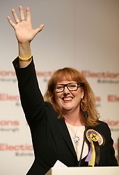 SNP candidate Deidre Brock celebrates retaining her Edinburgh North & Leith seat at Meadowbank Sports Centre in Edinburgh.