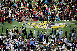 Muslim worshipers gather on the field for the morning prayers for Eid ul-Adha Tuesday, August 21, 2018, at U.S. Bank Stadium in Minneapolis, MN, USA, tocelebrate Eid ul-Adha, the organization Super Eid hopes to bring together over 50,000 Muslims to pray. Photo by David Joles/Minneapolis Star Tribune/TNS/ABACAPRESS.COM