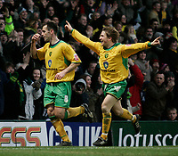 Peter Thorne celebrates with Paul McVeigh after scoring.<br /> Norwich City v Watford, Cocal Cola Championship, 21/01/06. Photo by Barry Bland