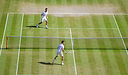 LONDON, ENGLAND - Friday, July 4, 2014: Novak Djokovic (SRB) plays the winning match-point past Grigor Dimitrov (BUL) to win the Gentlemen's Singles Semi-Final match 6-3, 3-6, 7-6 (2), 7-6 (7) on day eleven of the Wimbledon Lawn Tennis Championships at the All England Lawn Tennis and Croquet Club. (Pic by David Rawcliffe/Propaganda)