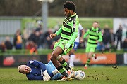 Forest Green Rovers Reuben Reid(26) has his shot saved by Mansfield Town goalkeeper Conrad Logan(1) during the EFL Sky Bet League 2 match between Forest Green Rovers and Mansfield Town at the New Lawn, Forest Green, United Kingdom on 24 March 2018. Picture by Shane Healey.