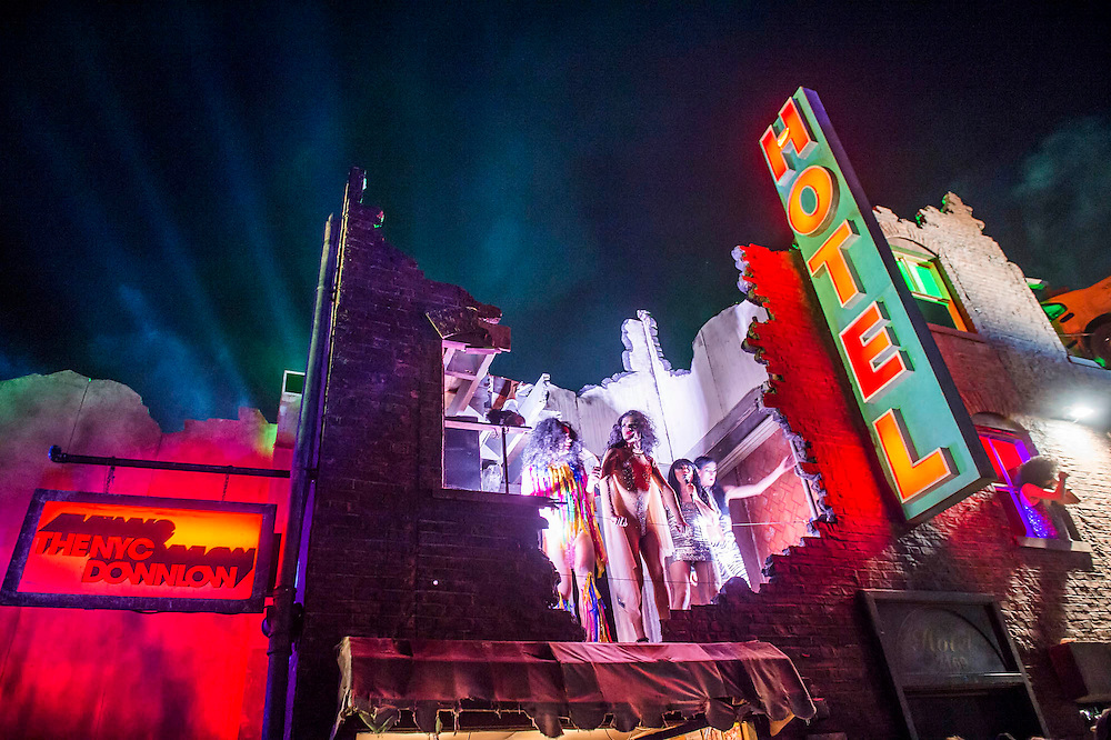 Bloc 9 - transvestites and nightclubs.  The 2015 Glastonbury Festival, Worthy Farm, Glastonbury.