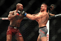 Jimi Manuwa (left) in action against Jan Blachowicz during their Light Heavyweight fight at The O2 Arena, London.