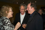 LADY ANTONIA PINTER, ERIC ABRAHAM AND WILLIAM BOYD, party to celebrate the 100th issue of Granta magazine ( guest edited by William Boyd.) hosted by Sigrid Rausing and Eric Abraham. Twentieth Century Theatre. Westbourne Gro. London.W11  15 January 2008. -DO NOT ARCHIVE-© Copyright Photograph by Dafydd Jones. 248 Clapham Rd. London SW9 0PZ. Tel 0207 820 0771. www.dafjones.com.