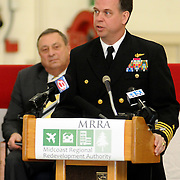 2/7/11 -- BRUNSWICK, Maine.  U.S. Navy Capt. William Fitzgerald, Commanding Officer of NAS Brunswick speaks at the transfer ceremony of Hangar 6 today. The U. S. Navy passed Hangar 6 over to the Midcoast Regional Redevelopment Authority today in a ceremony attended by Maine Governor Paul LePage, Congresswoman Chellie Pingree and a host of other members of local and state government. Roger S. Duncan Photo / For The Forecaster