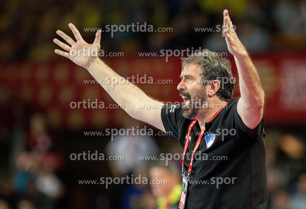 Veselin Vujovic, head coach of Slovenia during handball match between National teams of Slovenia and Spain on Day 4 in Preliminary Round of Men's EHF EURO 2016, on January 18, 2016 in Centennial Hall, Wroclaw, Poland. Photo by Vid Ponikvar / Sportida