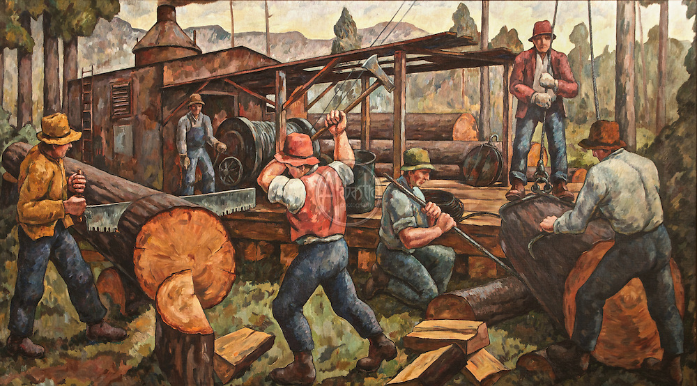 """Murals painted in 1939 by Jacob Elshin (1892-1976) for West Seattle High School: """"Landing"""", """"Barter"""", and """"Logging""""."""
