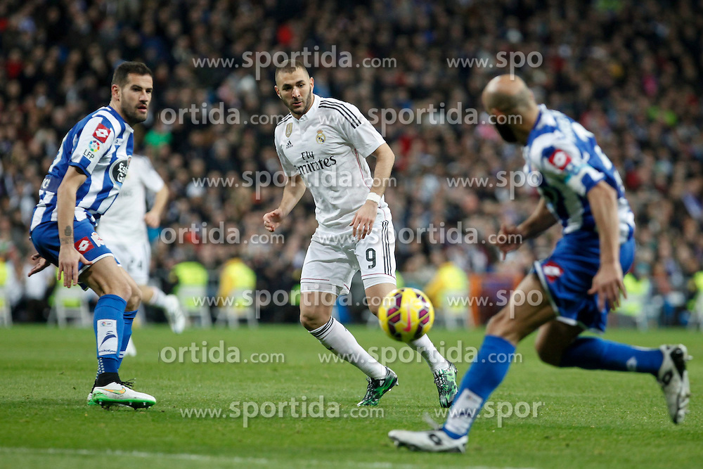 14.02.2015, Estadio Santiago Bernabeu, Madrid, ESP, Primera Division, Real Madrid vs Deportivo La Coruna, 23. Runde, im Bild Real Madrid&acute;s Karim Benzema // during the Spanish Primera Division 23rd round match between Real Madrid vs Deportivo La Coruna at the Estadio Santiago Bernabeu in Madrid, Spain on 2015/02/14. EXPA Pictures &copy; 2015, PhotoCredit: EXPA/ Alterphotos/ Victor Blanco<br /> <br /> *****ATTENTION - OUT of ESP, SUI*****