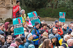 © Licensed to London News Pictures. 26/02/2020. Bristol, UK. University Strike across the UK; University and College (UCU) Union rally and march by members of UCU at the University of Bristol. Strikers gather outside the university's Victoria Rooms to march down Bristol's Park Street past the university's Wills Memorial tower. There are two disputes involving UCU members in higher education in the UK. One is about changes to the Universities Superannuation Scheme (USS) and the other is about pay and working conditions including equality, casualisation and workloads. UCU members in 52 institutions in the UK have voted to take strike action and action short of a strike (ASOS) about USS. Members in 70 institutions have voted to take strike action and action short of strike about pay and working conditions. In total, 74 institutions are affected. The strike is taking place over four weeks till March with strike days increasing every week. Union members will also begin 'action short of a strike' which involves things like working strictly to contract, not covering for absent colleagues and refusing to reschedule lectures lost to strike action. Photo credit: Simon Chapman/LNP.