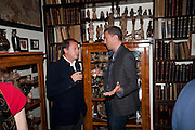 MATTHEW FREUD;  JOHN BATSEK, Freud Museum dinner, Maresfield Gardens. 16 June 2011. <br /> <br />  , -DO NOT ARCHIVE-© Copyright Photograph by Dafydd Jones. 248 Clapham Rd. London SW9 0PZ. Tel 0207 820 0771. www.dafjones.com.