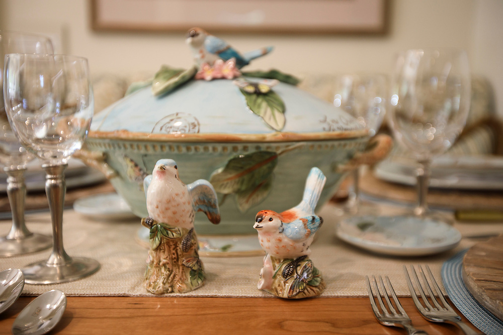 A detail of bird decorations on the kitchen table after renovations inside the Pasadena Showcase House of Design on Wednesday, April 12, 2017 in Pasadena, Calif. The 1916 English estate home was updated for modern living by interior and landscape designers. © 2017 Patrick T. Fallon