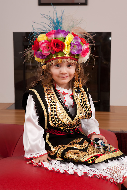 Little girl in traditional Orfiea, Bulgarian dance dress
