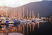 Alaska. Sitka. RA, Sealing Cove Harbor, sunset, Japonski Island.