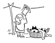 (A woman finds a black cat and kittens in her laundry basket)