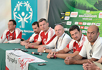 Press conference of Special Olympics Poland during press conference during Day 6 of the FIVB World Championships on July 6, 2013 in Stare Jablonki, Poland. <br /> <br /> Poland, Stare Jablonki, July 06, 2013<br /> <br /> Picture also available in RAW (NEF) or TIFF format on special request.<br /> <br /> For editorial use only. Any commercial or promotional use requires permission.<br /> <br /> Mandatory credit:<br /> Photo by &copy; Adam Nurkiewicz / Mediasport