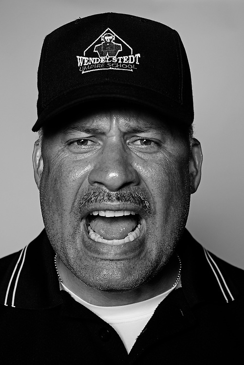 DAYTONA BEACH, FL - FEBRUARY 2, 2016:  Portraits of umpires calling a strike at the Harry Wendelstedt Umpire School in Daytona Beach, Fla.: Jerry Martinez, 48, of Hammonton, NJ. (Photo by Melissa Lyttle)