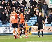 Blackpool defender Hayden White is shown the red card during the Sky Bet League 1 match between Millwall and Blackpool at The Den, London, England on 5 March 2016. Photo by David Charbit.