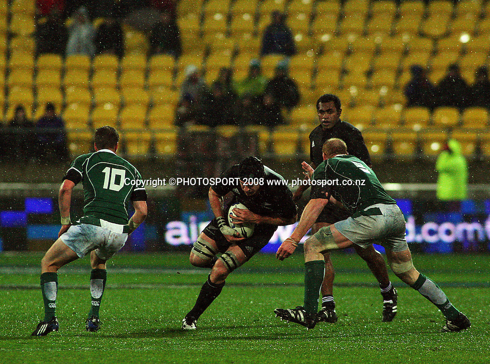 Paul O'Connell goes in to tackle Ali Williams.<br /> International Test Match - All Blacks v Ireland, Westpac Stadium, Wellington. Saturday 7 June 2008. Photo: Dave Lintott/PHOTOSPORT