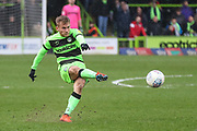 Forest Green Rovers George Williams(11) takes a free kick and hits the post during the EFL Sky Bet League 2 match between Forest Green Rovers and Carlisle United at the New Lawn, Forest Green, United Kingdom on 16 March 2019.