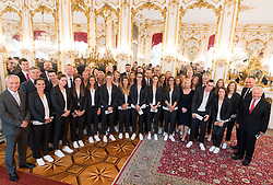 11.07.2017, Präsidentschaftskanzlei, Wien, AUT, ÖFB, Verabschiedung der Damen-Fußballnationalmannschaft, im Bild Gruppenfoto // during farewell event of the Woman's Team of the Austrian Football Association at the federal presidents office in Vienna, 2017/07/11. EXPA Pictures © 2017 PhotoCredit: EXPA/ Michael Gruber