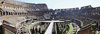 Panoramic view of the interior of the Roman Coliseum Rome Italy