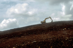 March 28, 2019 - Soroako, South Sulawesi, Indonesia - A heavy equipment leveled landfill for replanting trees in former mining areas that had been reclaimed in the mining area of ??PT. Vale Indonesia in Soroako, East Luwu, South Sulawesi, Thursday, March 28, 2019. PT. Vale Indonesia is the largest producer of matte nickel in Indonesia and accounts for around 5 percent of world nickel production. This year, the global company headquartered in Brazil will have a new mining area of ??350 hectares to increase production. The main destination for marketing is Japan. In 2017, nickel matte produced by the company amounted to 76.81 tons or decreased compared to 2016 amounting to 77.58 tons  (Credit Image: © Basri Marzuki/NurPhoto via ZUMA Press)