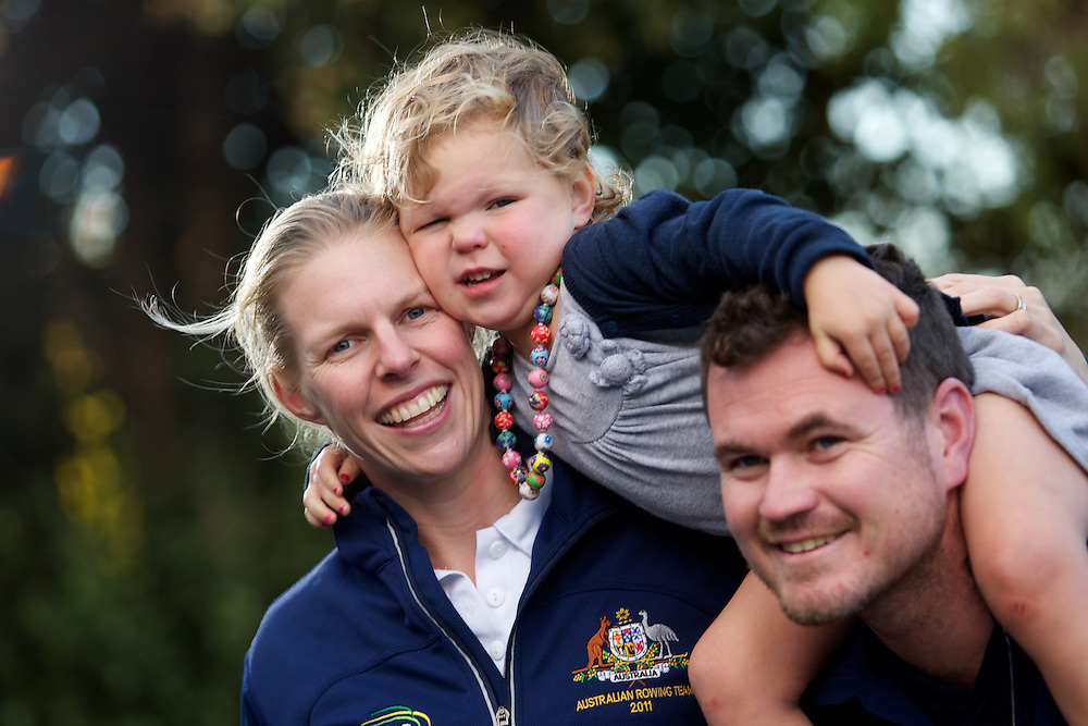 Mothers Day. Sarah Tait is rower. Bill Tait is her husband and he's also the national rowing coach. Leila is their 2yo baby. Pic By Craig Sillitoe CSZ/The Sunday Age.12/05/2012 melbourne photographers, commercial photographers, industrial photographers, corporate photographer, architectural photographers, This photograph can be used for non commercial uses with attribution. Credit: Craig Sillitoe Photography / http://www.csillitoe.com<br />